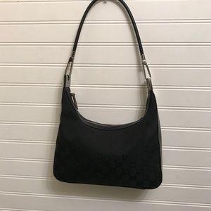 GUCCI Black Monogram Canvas & Leather Shoulder Bag